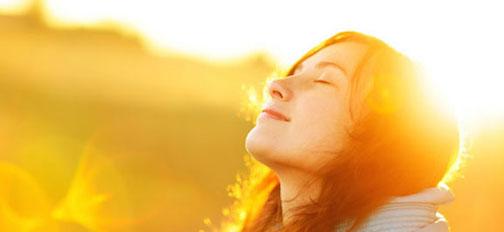 image woman getting sun